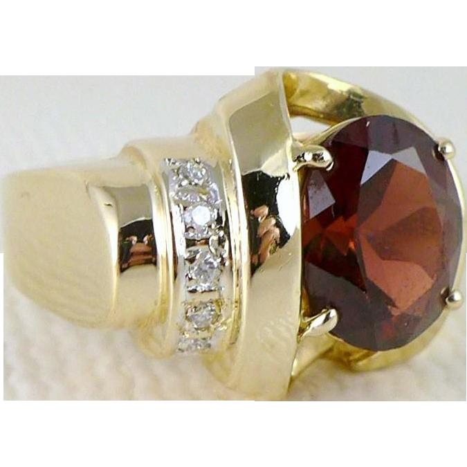 Vintage 14K Gold Garnet Diamond Ring, Art Deco Style