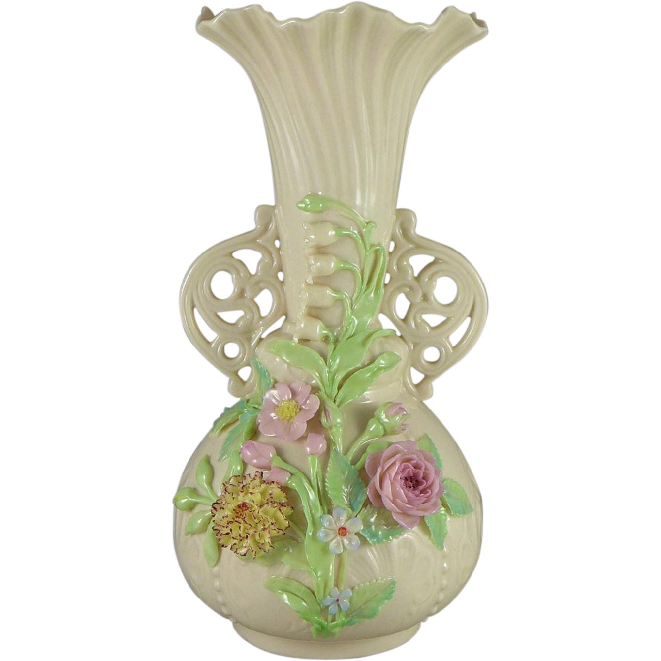 Vintage Belleek Princess Floral Vase 1946 - 1955 1st Green Mark