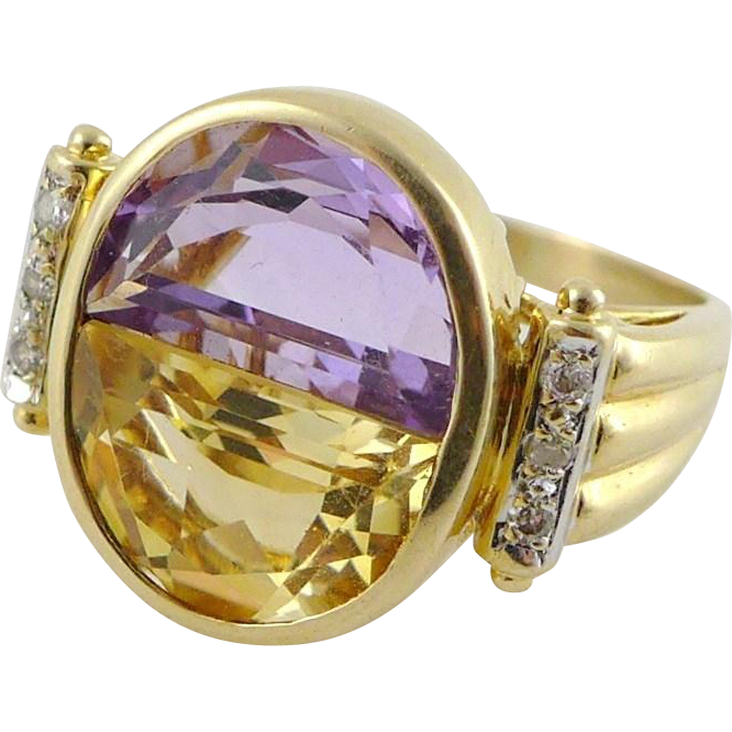 Vintage 14K Gold Amethyst Citrine Half Moon Ring with Diamond Accents
