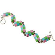 Vintage Sterling Silver and Semi Precious Stone Inlay Bracelet - Mexico