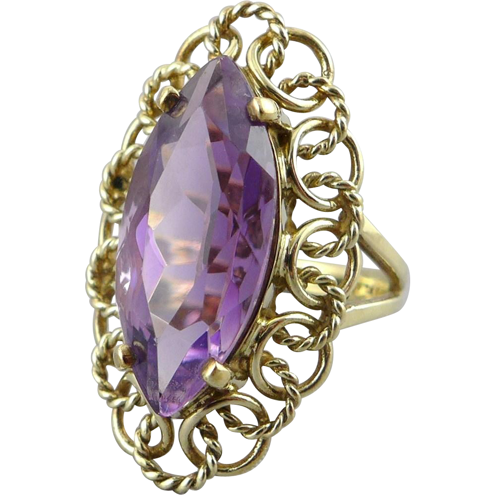 Vintage European 8K Gold Amethyst Ring - German or Danish - 5.75