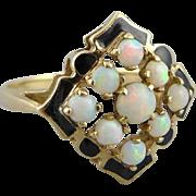 Vintage Art Deco 10K Gold Opal and Enamel Ring