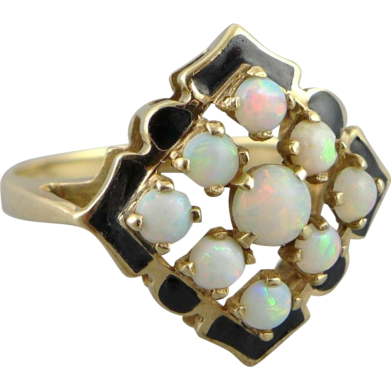 vintage deco 10k gold opal and enamel ring from