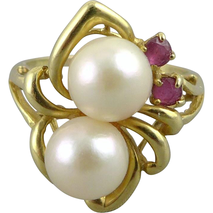 Vintage 14K Gold Pearl Spinel Ring
