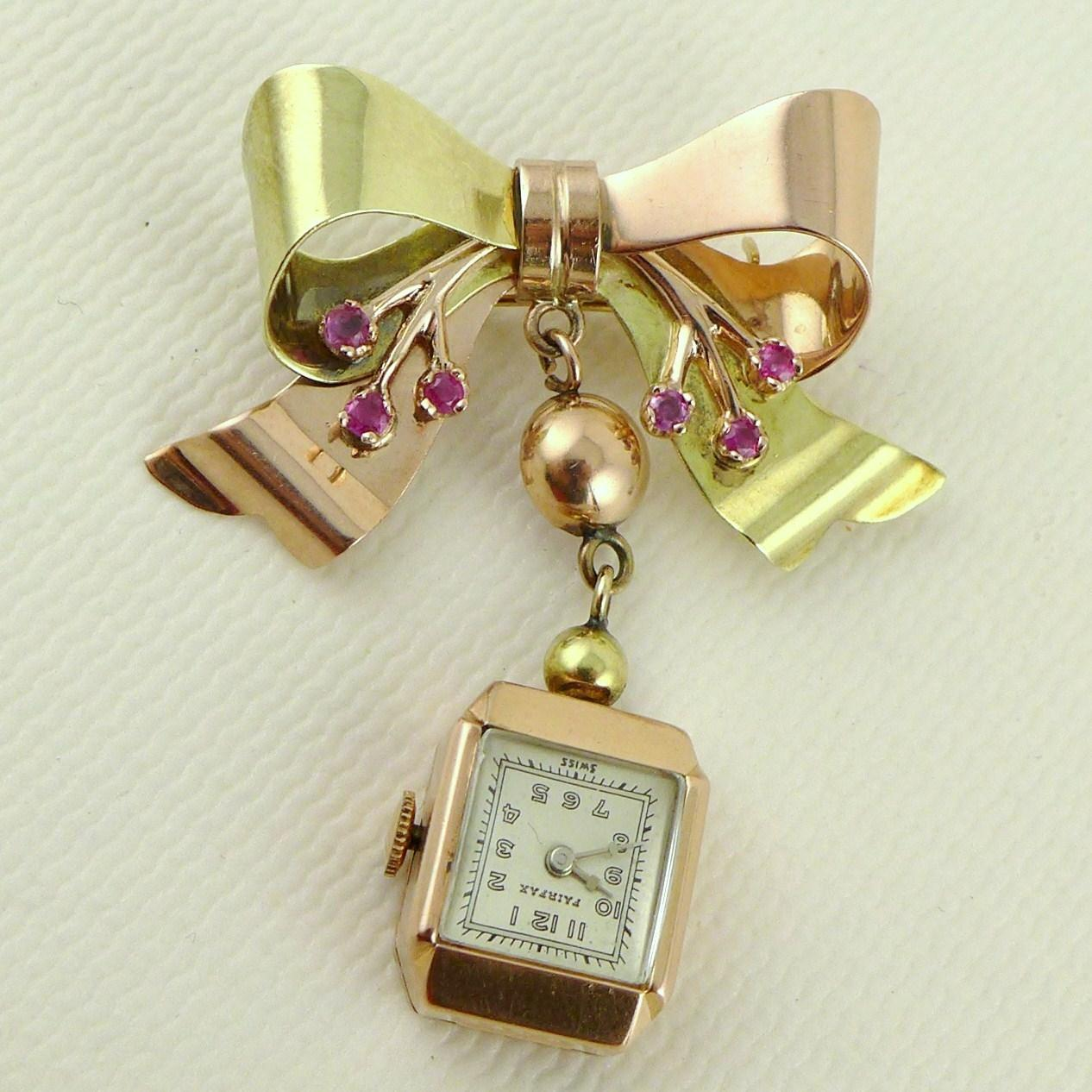 vintage retro 14k gold pendant lapel pin from