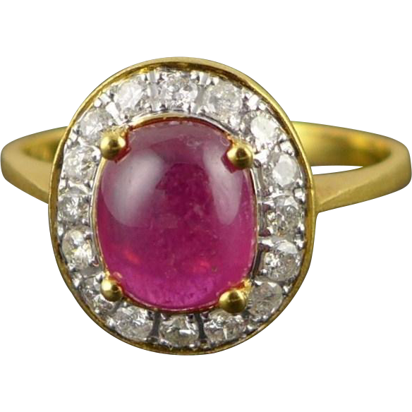 Vintage 18K Gold Pink Tourmaline Diamond Halo Ring