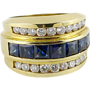 Vintage 14K Gold Sapphire Diamond Ring - Wide Band 4 ctw