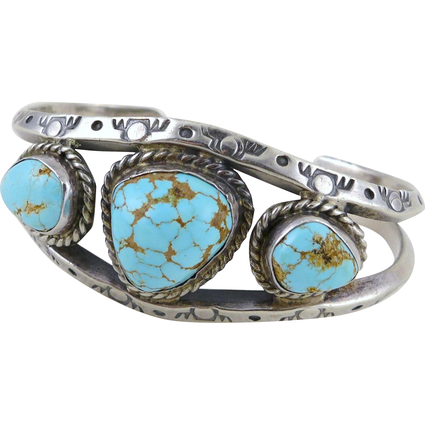 Vintage Sterling Silver and Turquoise Southwest Cuff Bracelet