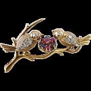 Vintage Retro 14K Rose Gold Sapphire and Diamond Bird Brooch / Pin