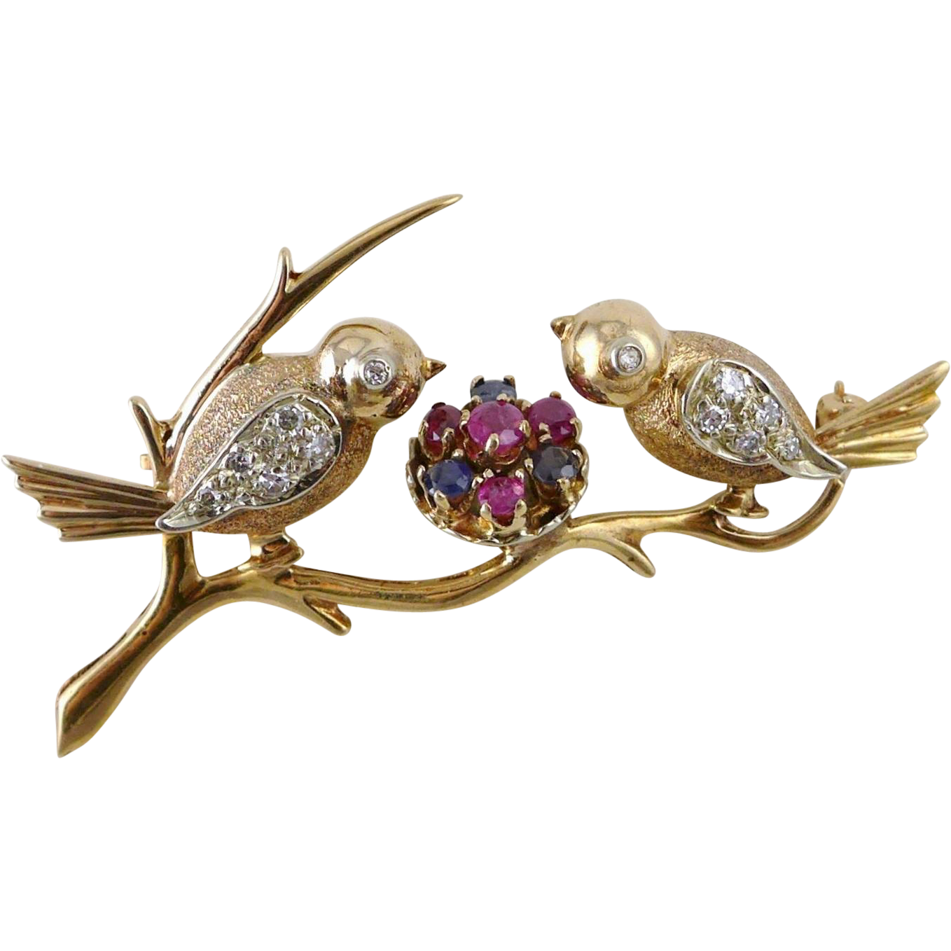 Vintage Retro 14K Rose Gold Sapphire and Diamond Bird Brooch / Pin