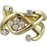 Vintage 14K Gold Diamond Ring, Custom Made
