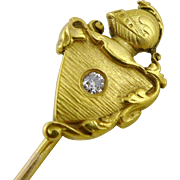 Antique 14K Gold and Diamond Knight Stickpin, Stick Pin