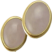 Vintage 14K Gold Rose Quartz Earrings With French Backs