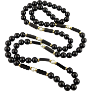 Black Onyx and Cultured Pearl Necklace With 14K Accent Beads, Opera Length