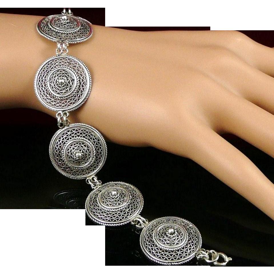 Vintage Sterling Silver Filigree Circlular Link Bracelet