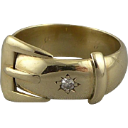 Vintage English 9ct Gold Belt Buckle Ring with Diamond