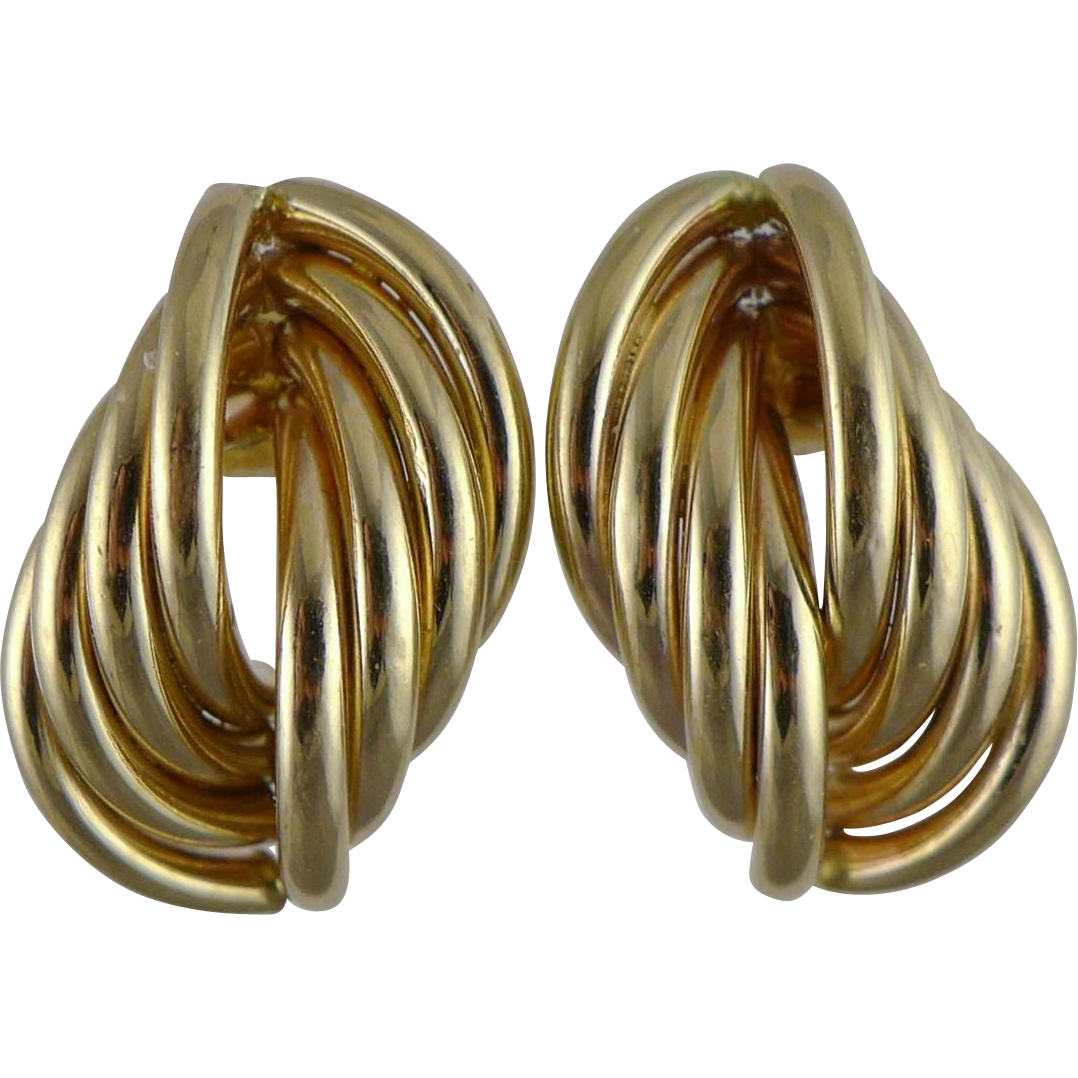 Vintage 14K Gold Curved Tube Earrings