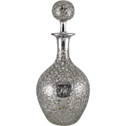 Antique Solid Silver Overlay Decanter by Black, Starr and Frost c. 1886