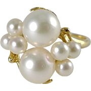 Vintage 14K Gold Cultured Pearl Cluster Ring