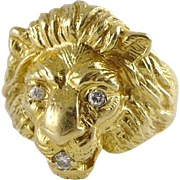 Vintage Men's 14K Gold Diamond Ring, Lion's Head