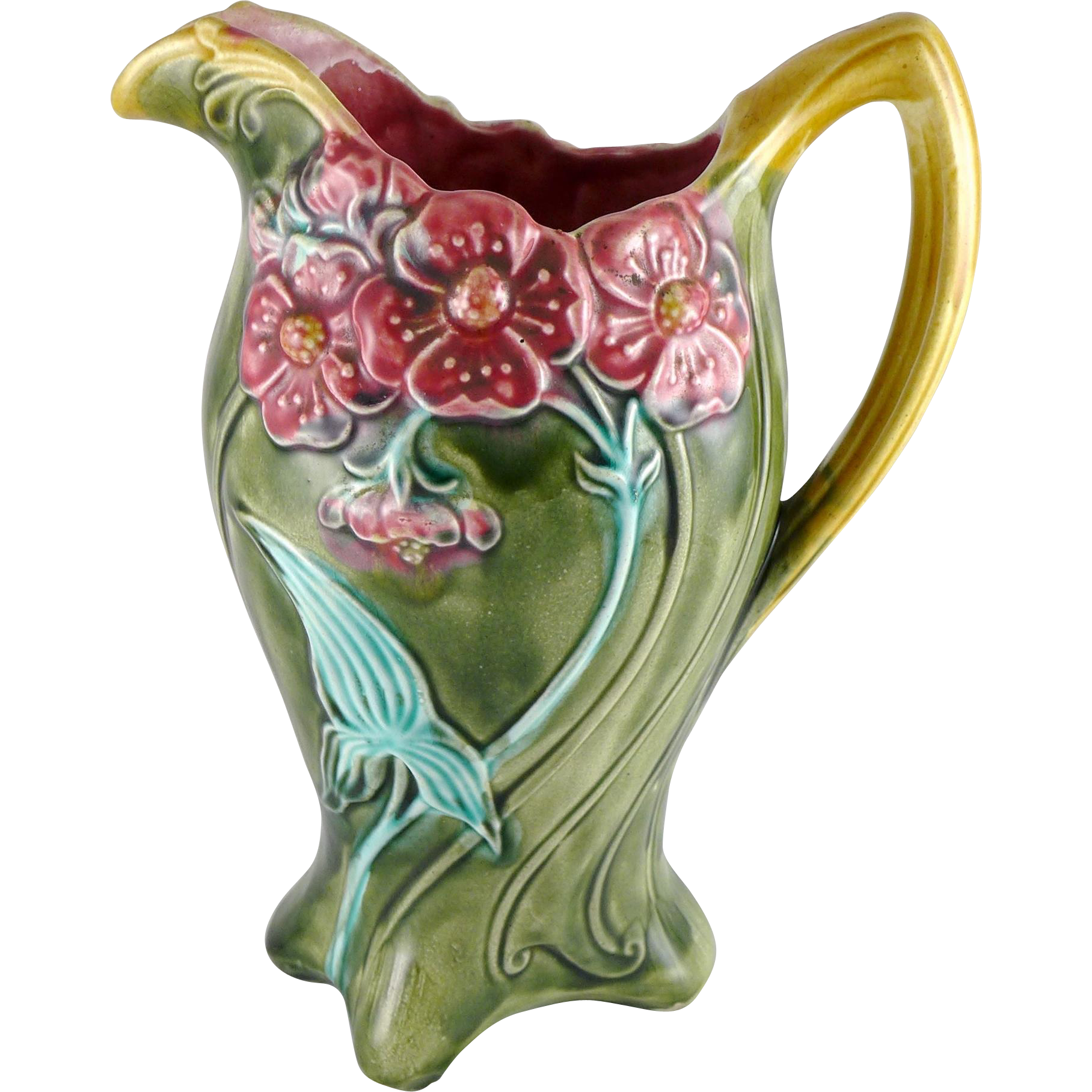 Antique Art Nouveau French Majolica Frie Onnaing Pitcher