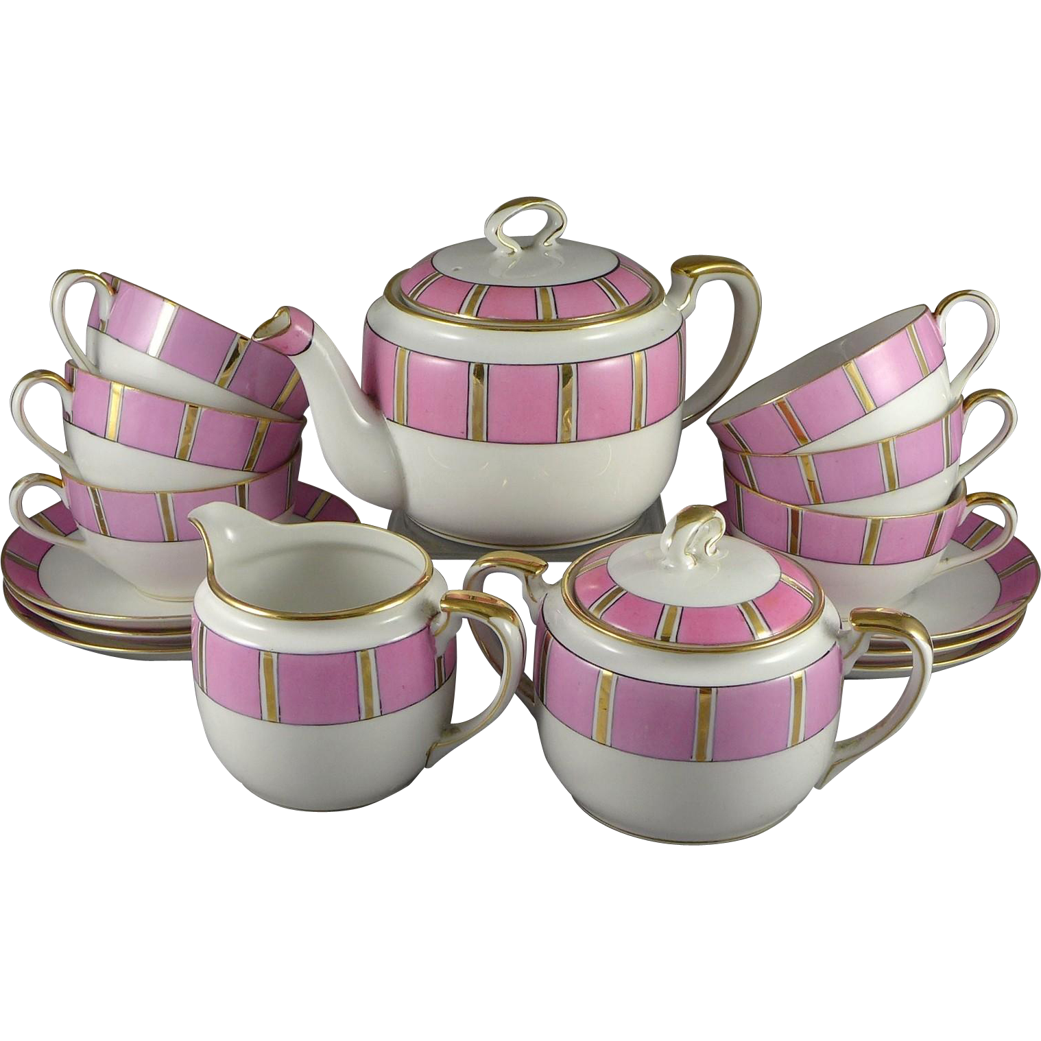 Vintage Nippon Pink Bone China Tea Set For Six - Teapot, Sugar, Creamer, Cups and Saucers