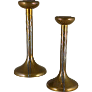 Antique Heintz Bronze and Sterling Candlesticks, Sea Grass 3107