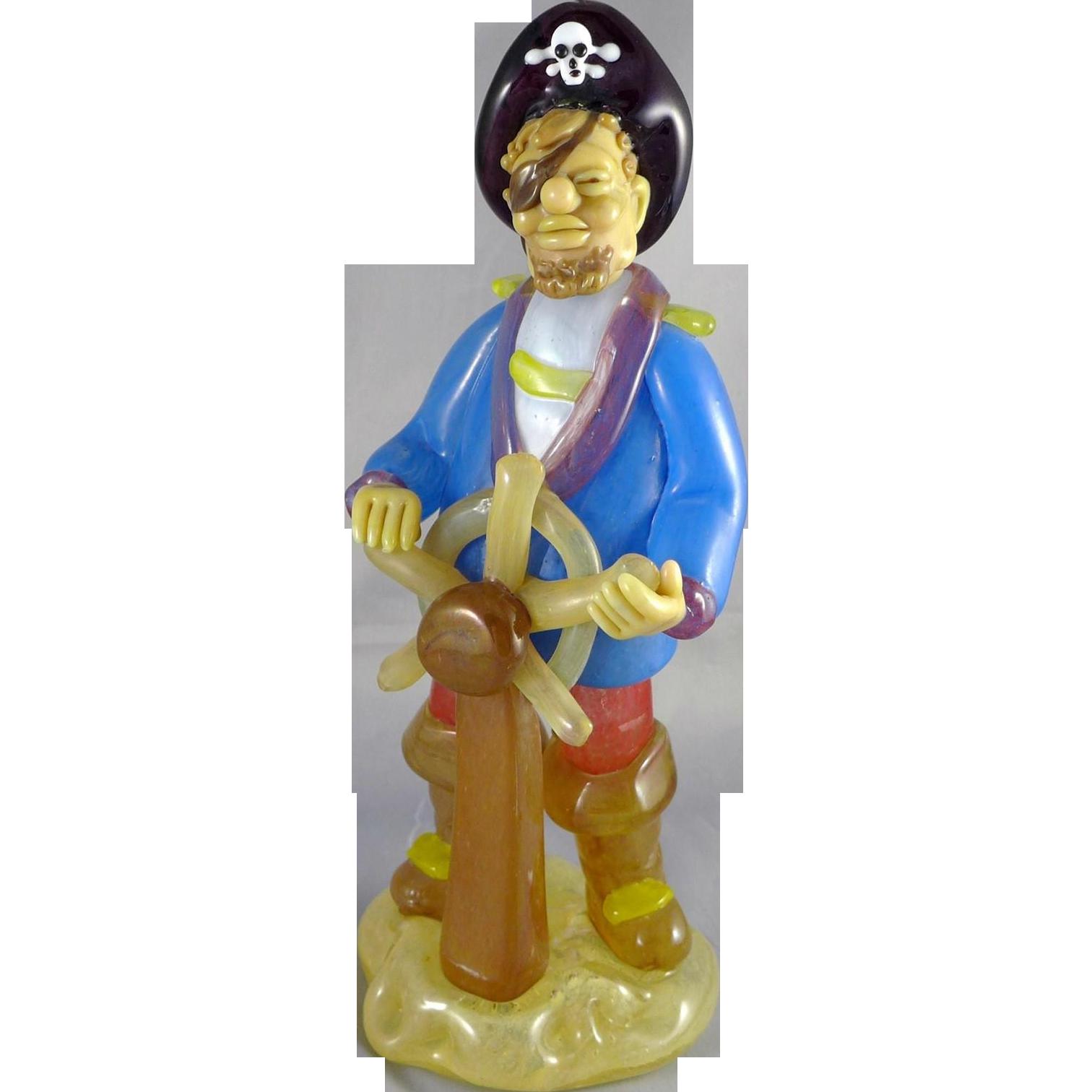 Vintage Czech Art Glass Pirate Figure