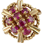 Vintage Retro 10K Gold Ruby Cluster Ring