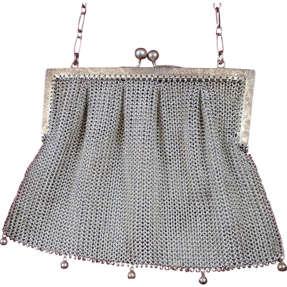 Antique Sterling Silver Mesh Pleated Purse Art Nouveau