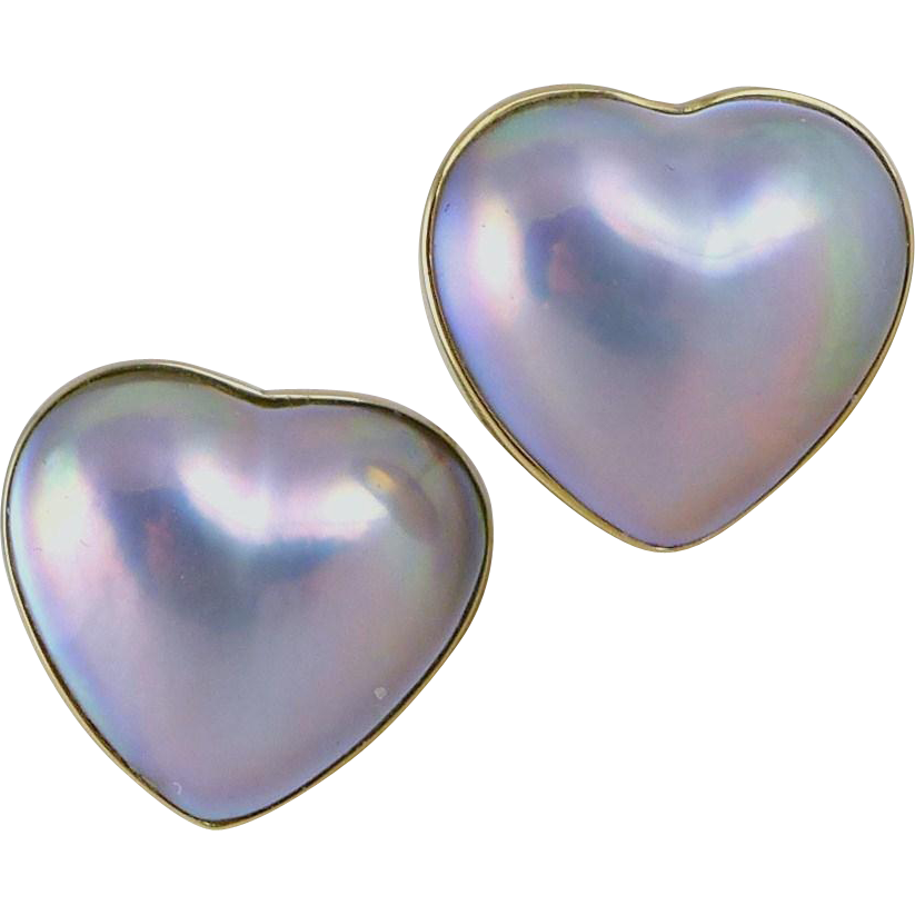 Vintage18K Gold Mabe Pearl Earrings, Heart Shape Gray With Blue Pink Iridescence