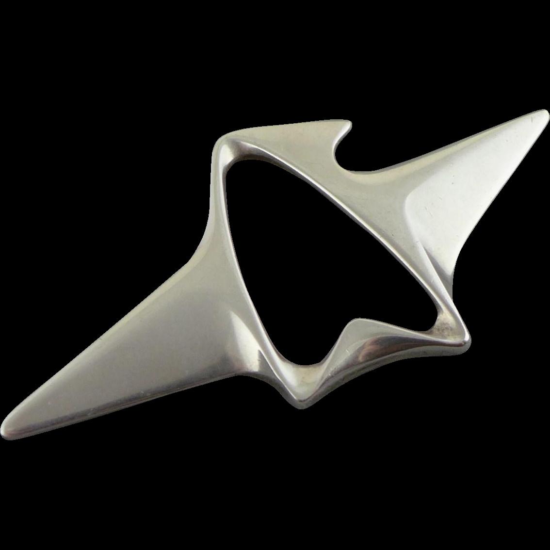 Vintage Georg Jensen Sterling Silver Brooch / Pin 340 Designed By Henning Koppel