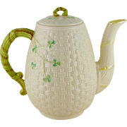 Vintage Belleek Shamrock Coffee Pot 3rd Green Mark