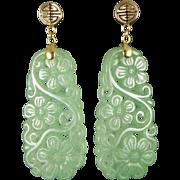 Vintage 14K Gold Carved Jade Earrings, Floral