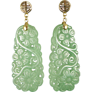 Vintage 14K Gold Carved Jade Earrings, Floral
