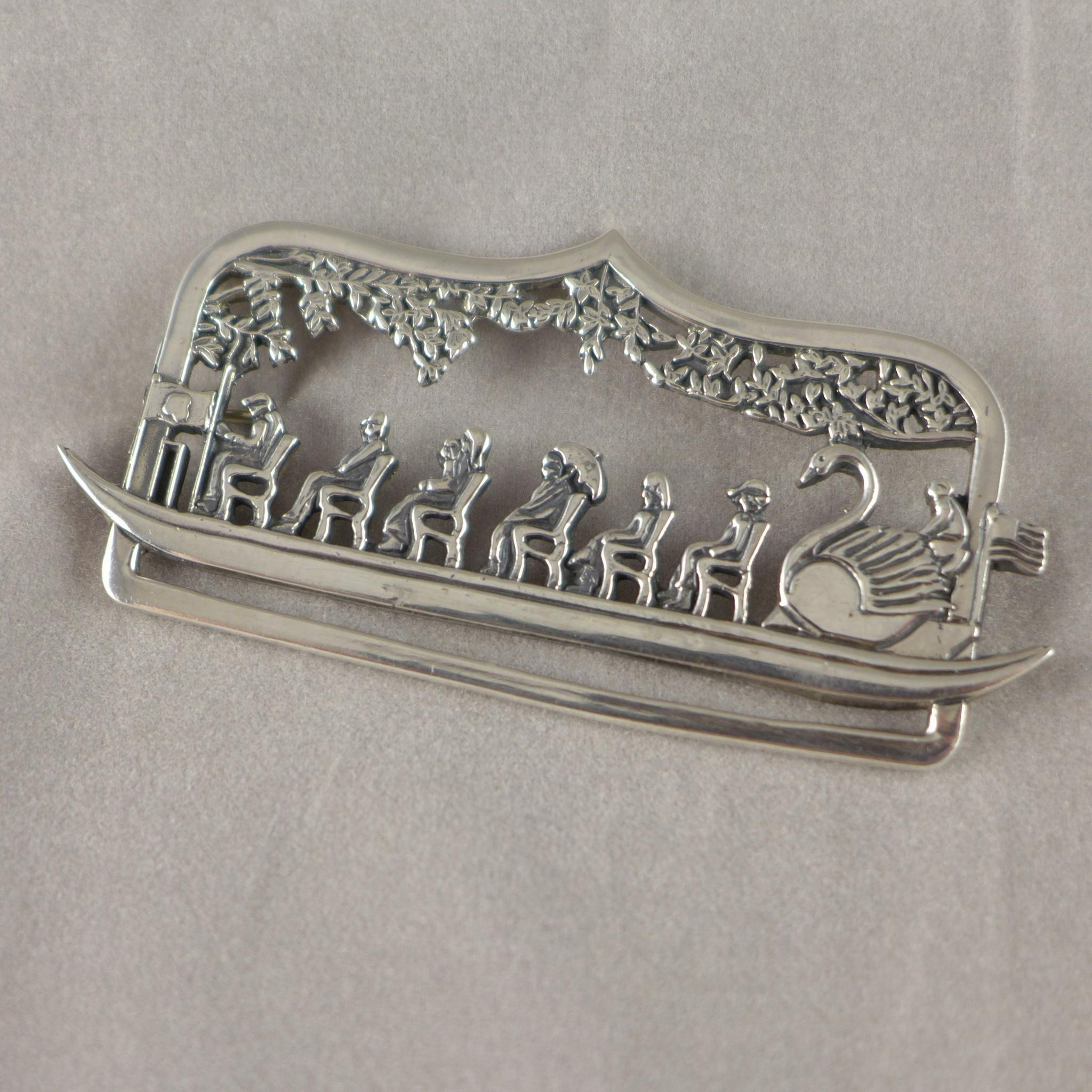 Vintage Sterling Silver Swan Boat Brooch / Pin - Boston Public Gardens