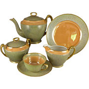 Vintage Noritake Green Mottled Orange Luster Tea / Dessert Set - 23 Pieces Art Deco