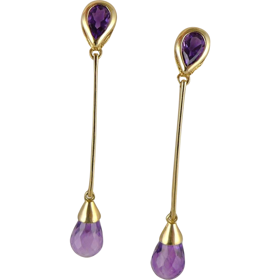 Vintage Gold Amethyst Briolette Drop Earrings