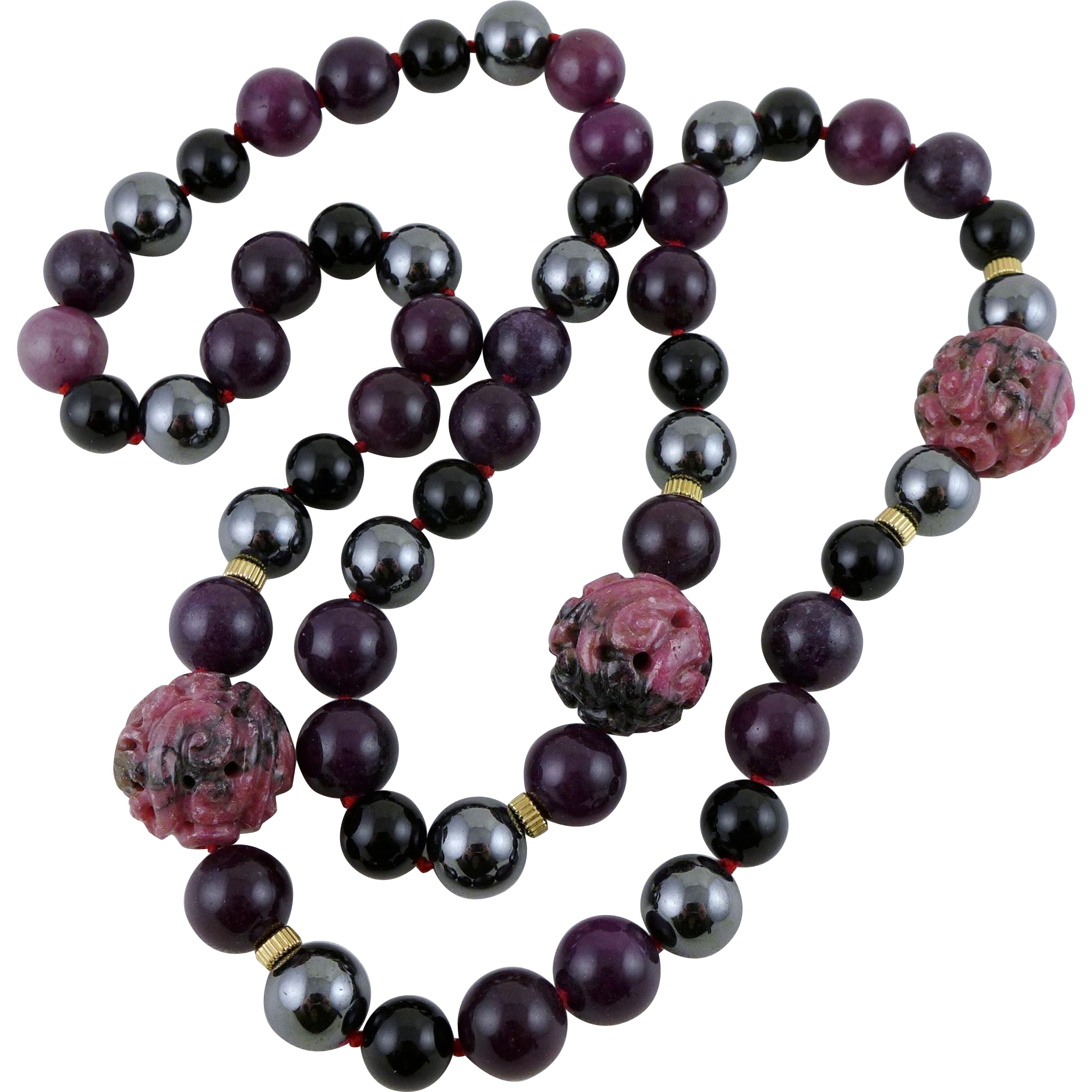Vintage Carved Rhodonite and Semi Precious Stone Beaded Necklace 27 Inches Long