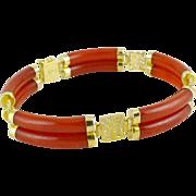 Vintage 14K Gold Red Jade Bracelet Signed VW