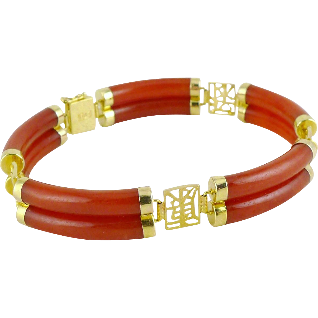Vintage 14K Gold Red Jade Bracelet Signed VW