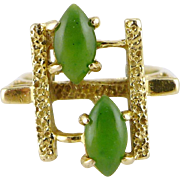 Vintage Modernist 14K Gold Jade Ring
