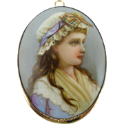 Hand Painted Portrait Brooch, Vintage Porcelain Pin In 10K GF Frame