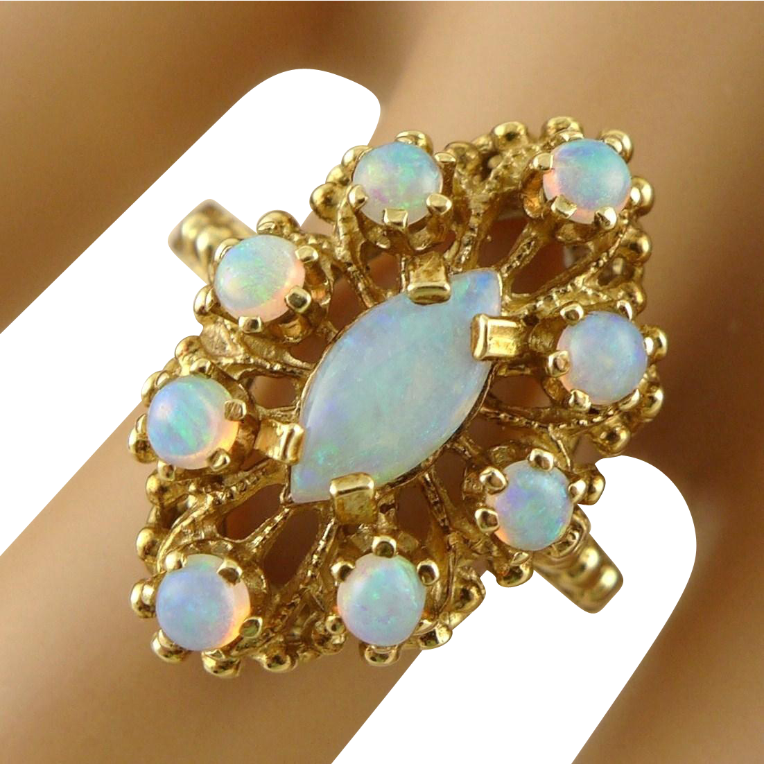 Vintage 14K Gold and Opal Ring, Etruscan Style