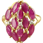 Vintage 14K Gold Marquise Ruby, Diamond Cluster Ring