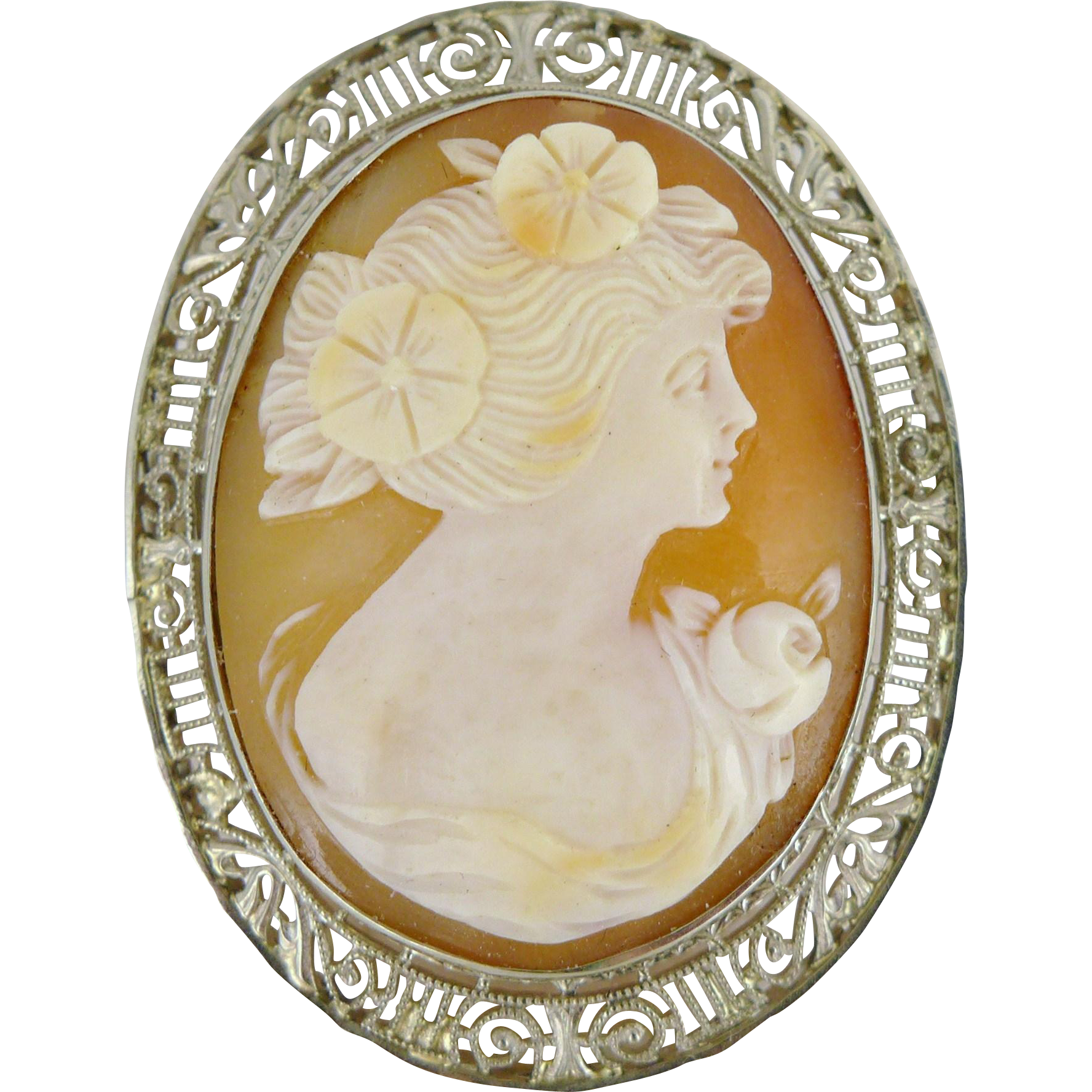 Vintage Art Deco 14K Shell Cameo, Ostby and Barton