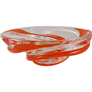 Vintage Chalet Art Glass Red Ribbon Bowl
