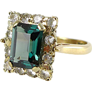 Vintage English 9ct Gold Green Spinel and Quartz Ring