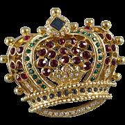 Vintage Kenneth Jay Lane Crown Brooch / Pin KJL