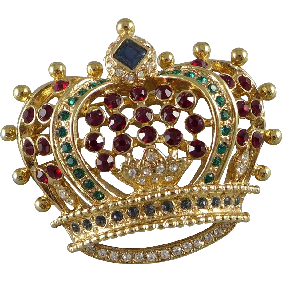 Vintage Kenneth Jay Lane Crown Brooch / Pin KJL